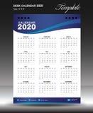 calendar 2020 o vertical da polegada do tamanho 6x8 do ano, começo domingo da semana, molde 2020 do calendário de parede ilustração royalty free