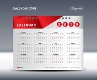Calendar 2019 o vetor do molde, começos domingo da semana, projeto dos artigos de papelaria, vetor do projeto do inseto, projeto  Foto de Stock