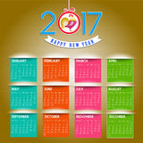 Calendar for 2017  object for design element  Royalty Free Stock Images