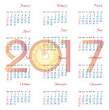 Calendar for 2017  object for design element  Royalty Free Stock Photos
