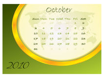 Calendar october 2010 Royalty Free Stock Photography