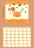 Calendar for October 2012.  Stock Photography