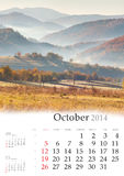 2014  Calendar. October. Royalty Free Stock Photos