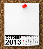 Calendar October 2013. On blank note paper with free space for your text Royalty Free Stock Images