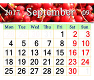 Calendar for October 2017 with branch of schisandra Royalty Free Stock Photography