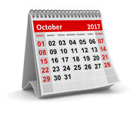 Calendar - October 2017. This is a 3d rendered computer generated image. Isolated on white Stock Photography