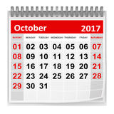 Calendar - October 2017. This is a 3d rendered computer generated image. Isolated on white Stock Photos