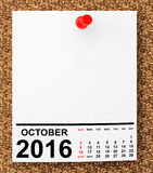 Calendar October 2016. 3d Rendering. Calendar October 2016 on blank note paper with free space for your text.3d Rendering Royalty Free Illustration