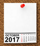 Calendar October 2017. 3d Rendering. Calendar October 2017 on blank note paper with free space for your text.3d Rendering Royalty Free Stock Images