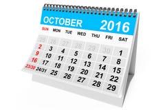 Calendar October 2016. 3d Rendering Stock Photography