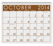 2014 Calendar: October. 12 image series of months on the year in a 3d rendered calendar Royalty Free Stock Photography