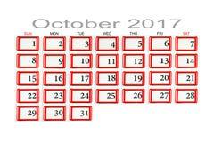 Calendar for October 2017 Royalty Free Stock Photos