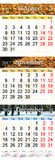 Calendar for October November and December 2017 with colored pictures. October November and December 2017 with colored pictures in form of triple calendar Royalty Free Stock Photos