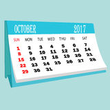 Calendar 2017 October page of a desktop calendar. 3D Rendering Royalty Free Stock Photo