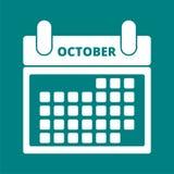 Calendar October. Simple white Calendar October, vector icon Stock Photography