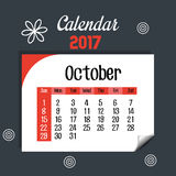 Calendar october 2017 template icon. Vector illustration design Royalty Free Stock Photos