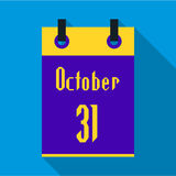 Calendar october thirty first icon, flat style Stock Photography