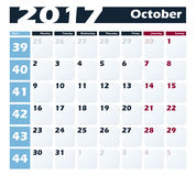 Calendar 2017 October vector design template. Week starts with Monday. European version Stock Photos