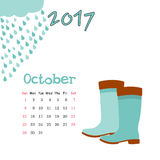 Calendar October 2017. Vector Template. Week starts Sunday. Vector nice calendar template for October 2017 Stock Photo