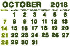 Calendar for October 2018 on white background,3d rendering green. Grass Royalty Free Stock Images
