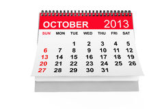 Calendar October 2013. 2013 year calendar. October calendar on a white background Royalty Free Stock Photography