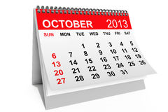 Calendar October 2013. 2013 year calendar. October calendar on a white background Stock Images