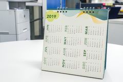 2019 calendar on office desk. Close up 2019 calendar on office desk for appointment stock photos