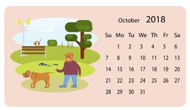 Calendar 2018 for Oktober Stock Photo