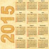 Calendar 2015. Old paper with Calendar 2015 (vector eps 10 Royalty Free Stock Photos