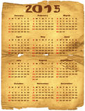 Calendar 2015. Old torn crumpled paper with calendar for 2015 (vector eps 10 Royalty Free Stock Images
