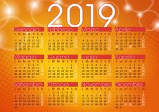 Calendar 2019 orange abstract background with sparkling lights. Italian language and festivity royalty free illustration