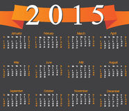 Calendar 2015 with orange ribbon. Week starts with sunday. Vector illustration stock illustration