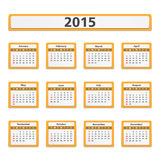 2015 Calendar. 2015 orange calendar on white background Stock Photo