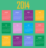 Calendar 2014 Green. 2014 calendar in colorful cubes Royalty Free Illustration