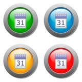 Calendar organaizer icon on buttons set Stock Photos