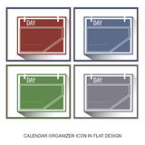 Calendar organizer icons in flat design style Royalty Free Stock Images