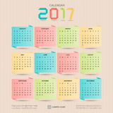 2017 Calendar. Origami design template. Week starts Sunday. vector illustration