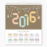 Calendar 2016 Origami paper number design. Calendar 2016, Origami paper number design background,  illustration Stock Photos