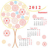 Calendar with ornamental trees. June, july, august Stock Image