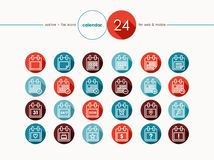 Calendar outline flat icons set Royalty Free Stock Photos