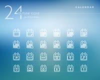Calendar outline icons set Stock Photos