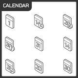 Calendar outline isometric icons. Vector illustration, EPS 10 Vector Illustration