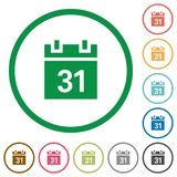 Calendar outlined flat icons. Set of calendar color round outlined flat icons on white background Stock Image