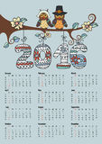 Calendar 2016.Owl couple and Knitting numbers. Calendar 2016 with Owl couple on branch,Knitting numbers,flowers.Sign of seasons,handmade symbol.New year holiday Vector Illustration