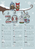 Calendar 2016.Owl couple,Knitting numbers. Calendar 2016 with Owl couple on branch,Knitting numbers,snowflakes.Sign of seasons,handmade symbol.New year holiday royalty free illustration