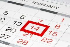 Calendar a página com data marcada 14 de fevereiro Fotos de Stock Royalty Free
