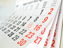 Calendar page. Close up a calendar page royalty free stock photos