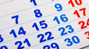 Calendar page Stock Photography