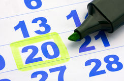 Calendar page. Page of the calendar and green marker Royalty Free Stock Photos