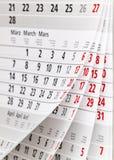 Calendar page. Close up a calendar page Royalty Free Stock Photos